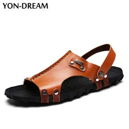 Wholesale Rubber Dreams - Yon-Dream Men's Sandals Strong Quality Hand Sewing Cow Leather Men Beach Shoes Soft Breathable Summer Shoes For Men