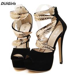 cb16ff8b716c0d DiJiGirls Marke Frauen goldene Metall Blätter Pailletten High Heels Sandalen  Frau offene Spitze Plattform Roman Party Schuhe schwarz Stilettos stiletto  ...