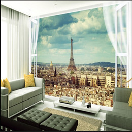 Wholesale Backdrop City - beibehang Wallpaper City of Paris Eiffel Tower City Architecture Landscaped Living Room Bedroom TV Backdrop 3d mural wallpaper