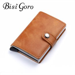 Wholesale Crazy Horse Purses - BISI GORO 2018 Men And Women Genuine Leather Card Holder Vintage Purse Crazy Horse Leather Aluminium Credit Business Card Holder