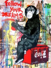 pittura nera rossa fatta a mano Sconti Dipinto a mano HD stampa colorato graffiti scimmia moderna pittura a olio astratta arte, decorazioni per la casa su tela spessa di alta qualità multi dimensioni g26
