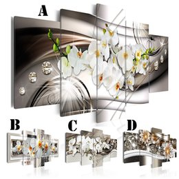 Wholesale picture canvas sizes - Frameless Wall Art Printed Canvas Painting Mirror Border Orchid and Chrysanthemum Home Decor Hanging Pictures (2 sizes)