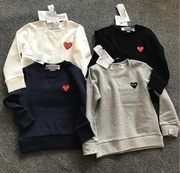 Wholesale Heart Print Sweater - 18play eyes love double heart heart sweater cardigan embroidery woman jacket collar wool sweater T-shirt sweater Pullover cotton red play pa