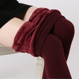 Wholesale Super Thick Girls - plus cashmere leggings woman girls Casual Warm Winter Faux Velvet Knitted Thick Slim Leggings Super Elastic free shipping