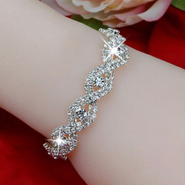 Wholesale Wholesale Elegant Jewelry - Elegant Deluxe Silver Rhinestone Crystal Bridal Bracelet Bangle Jewelry For Women Girl Christmas Gift 5 Colors