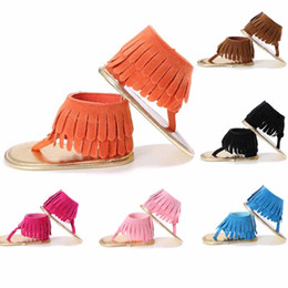 Wholesale toddler baby blue sandals - 6 colors new baby girl first walkers sandal solid color tassel design summer infant shoes toddler soft causal shoes