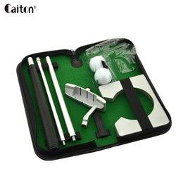 Wholesale golf gift sets - wholesale portable golf putter set kit with ball hole-cup Indoor golf putter training golfer's gift