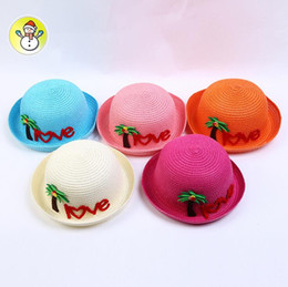 Wholesale Baby Beach Protection - Creative children straw hat with cartoon coconut tree LOVE letter baby hats kids breathable beach hat 5 color wholesale free ship
