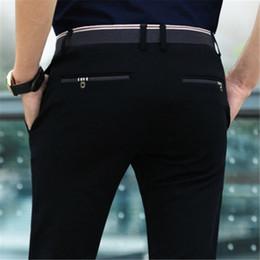 Wholesale black dress pants men - Men's Premium No-Iron Straight-Fit Flat-Front Elastic Dress Pant