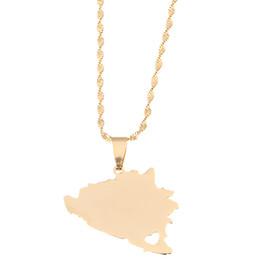 patriotische anhänger Rabatt Edelstahl Bosnien und Herzegowina Karte Anhänger Halsketten Bosnian Maps Jewelry Patriotic Gifts