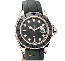 Wholesale Auto Dot - 2018 Top Luxury New 40mm Black Dial Dot Rose Gold Ceramic Bezel Men Watch Automatic Mechanical Mens Rubber Strap Watches AAA+ Quality
