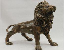 Chinesische löwenhunde statuen online-Chinese Feng Shui Wildheit Foo Dog Lion Beast Alte Bronze Kupfer Tier Statue