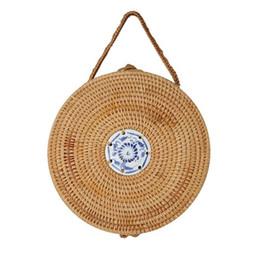 Piccolo tote di paglia online-Straw Circle Bag Women Rattan Handbag china Small Tote Round Basket Bohemian Beach Bag 2018 Retro Bolsas
