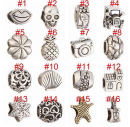 Wholesale Pandora Car - Mix Silver Bead Charm European Car House Camera Skull Pineapple Bead Fit Pandora Bracelets & Necklace Free shipping