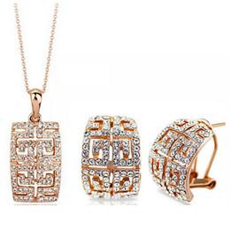 серьги болтается очки Скидка Горячая золото / серебро два цвета Кристалл ожерелье серьги комплект ювелирных изделий для женщин свадебные украшения бесплатная доставка