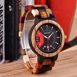 Wholesale wooden items - BOBO BIRD Colorful Luxury Wooden Watches Men Timepieces Fashion Wood Strap Date Display Quartz Watch Ideal Gifts Items W*Q13-1