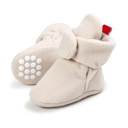 fur baby booties Promo Codes - Newborn Baby Shoes Winter Cotton Leather Boots Infants Warm First Walkers Fur Wool Girls Baby Booties Crib Shoes