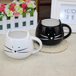 Wholesale Pottery Animals - Wholesale- Coffee Cup Black Cat Animal Milk Cup Ceramic Lovers Mug Cute Birthday gift,Christmas Gift
