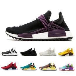 Wholesale racing sneakers - Black Purple Equality Human Race Trail Running shoe Holi Black Nerd Shoe HU trail Blank Cream Williams Yellow Pharrell sport sneaker 36-45