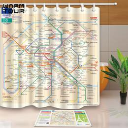 Ganchos de trilhos on-line-Passeio quente Personalizado Paris Metro Mapa Da Faixa À Prova D 'Água Decorativo Tecido À Prova D' Água Do Banheiro Cortinas de Chuveiro Set 12 Ganchos Mildewproof