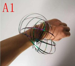Wholesale create bracelets - Flow Ring Magic Bracelet Toys Kinetic Iron stress relieve Holographic Moving Creates Ring outdoor toy FFA008
