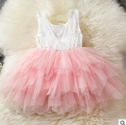 Wholesale Summer Kids Lace Backless Dress - Girls lace crochet princess vest dress 2018 summer new children beaded tulle tutu dress kids lace hollow tassel backless cake dress R2830