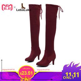 2057e4c82e maduras mujeres sexy Rebajas LebaLuka Mujeres Botas de tacón alto Muslo  Alto Sexy Señoras Zapatos Mujer