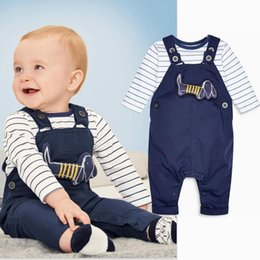 Wholesale Baby Boy Summer Formal Suit - KIDS TALES 2018 High quality Baby boy spring summer new baby boy navy blue dog blue dog applique trousers suit