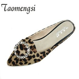 Wholesale Crystal Leopard Shoes - Flat Heel Slippers Women Black Color Autumn Ladies Shoes With Big Size 33-43 Fashion Crystal Outdoor Slippers 2017 Leopard Shoes
