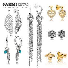 2019 jóia em forma de coroa FAMHI 100% de Prata 925 Sterling 1: 1 Bow Clássico Authentic Crown floco de neve do Coração fêmea glamour casamento Brinco Jóias jóia em forma de coroa barato