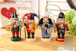 Wholesale Wholesale Nutcrackers Soldier - 4pc set 10cm Wooden Nutcracker Doll Sweety Soldier Vintage Handcraft Puppet Ornaments Desktop Shop and Home Decoration Christmas Gifts