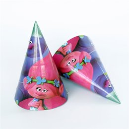 Wholesale Paper Pirates - 6 pcs lot Party Paper Hat Trolls Kids Birthday party supply event supplies Decoration