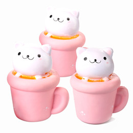 Wholesale Paper Hot Cups - 14cm Soft Jumbo Squishy Cup Cat Slow Rising Phone Strap Elastic PU Simulation Paper Cup Cat Squeeze Toy Kids Toy 2018 hot
