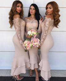 türkis rotes lila kleid Rabatt Bateau Long Sleeves Tee Länge Spitze Brautjungfernkleider 2018 Maßgeschneiderte Abendkleider