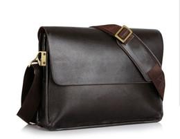 Wholesale mens brown messenger bags - Brand Designer Mens Bag Fashion 100% Genuine Leather Bags Briefcase Business Shoulder Messenger Bags For Men Man's Bag black brown