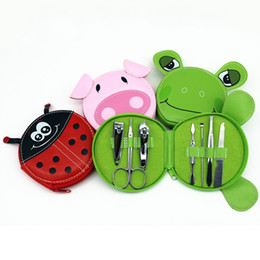 animal eyebrows Promo Codes - Cute Animals Nail Art Manicure Set Nail Clipper Eyebrow Scissor Cliper Ear Spoon Double-headed Dead Skin Nipper Kit