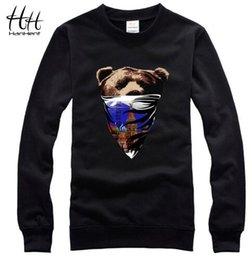 Wholesale mask hoodies - HanHent Masked Bears Print Hoodies Men's Russia Style Casual Cotton Sweatshirts 3D Brand Creative Men's Streetwear Clothing