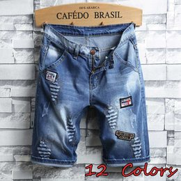 Wholesale Denims Shorts - 2018 Summer Men's Shorts Jean Denim Causual Fashional Distressed Shorts Skate Board Jogger Ankle Ripped Wave Free Shipping