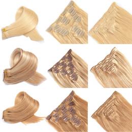 extensiones de cabello clip 613 27 Rebajas 8 piezas clip en extensiones de cabello virgen brasileña virgen proveedores de cabello humano al por mayor 1b # 2 # 4 # 27 # 613 # 27 # 613Clip extensiones de cabello