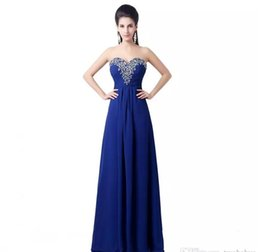 Wholesale Long Sweetheart Chiffon Prom Dress - ZAHY Original Real Image Royal Blue Evening Dresses Lace-Up Cheap Sweet 16 A-Line Chiffon Sexy Prom Dresses Formal Party Gowns Cheap Long