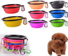 Wholesale cat feeding - Travel Collapsible Pet Dog Cat Feeding Bowl Water Dish Feeder Silicone Foldable 7 Colors To Choose DDA390