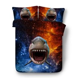 set di biancheria da letto quilt california Sconti Biancheria da letto Shark 3D Set di lenzuola trapuntate Luxury Stars in lenzuolo di lino California Super King Queen size full twin 4PCS