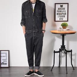 Al por mayor-Mens Denim Jumpsuit Overoles de manga completa Loose Fit Bootcut Hip-Pop Jeans Cremallera Hip Casual Pantalones Monos Ropa de trabajo MDB03 desde fabricantes