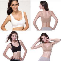 Wholesale Seamless Soft Cup Bra - Seamless Soft Bra Women Yoga Vest Sports Bra Crop Tops Underwear Strech Shapewear itness Yoga Running Vest OOA4754