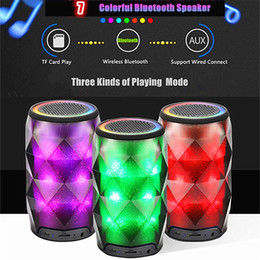 Wholesale Mini Seven - Crystal Can Diamond Bluetooth Speaker Seven Color Change Portable Wireless Speaker For Outdoor Subwoofer Support TF Card Mic MIS181