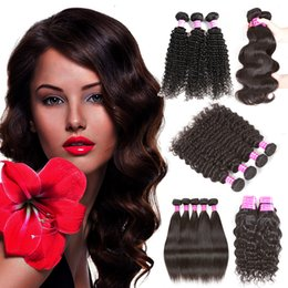 Wholesale Indian Water Wave Weave - Brazilian Virgin Hair Straight Body Wave Hair Weaves Water Wave 4 Or 5 Bundles Peruvian Indian Deep Wave Kinky Curly Human Hair Extensions