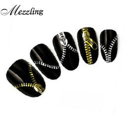 3d metallische nagelaufkleber Rabatt 3D Wassertransfer Nail Art Sticker, 10 teile / los Gold Silber Reißverschluss Metallic Nagel Decals Wraps, DIY Schönheit Dekorationen