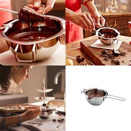 bol chocolat Promotion Chocolate Melting Pot 304 En Acier Inoxydable Bol À Lait Outils De Cuisson Beurre Réchauffeur De Bonbons Pâtisserie Chauffage Double Chaudière 10xs V