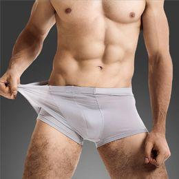 Wholesale silk mens men underwear - Summer Sexy Mens Underwear Ice Silk Boxers Men U Convex Pouch Shorts cueca boxers homme Seamless Male Panties