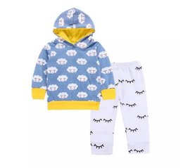 Wholesale Cute Outfits For Boys - Baby boys cloud printing hoodie 2pcs sets blue printing hooded hoody+white pants toddlers cute casual outfits for 0-2T A08